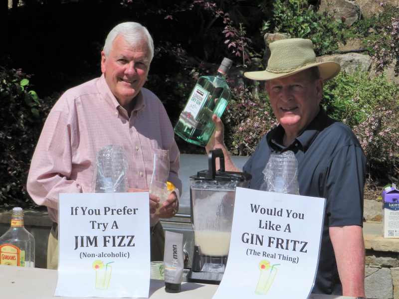 Past Presidents George Silvestri and Harry Thomas provide high fritz spirits, support for the celebration