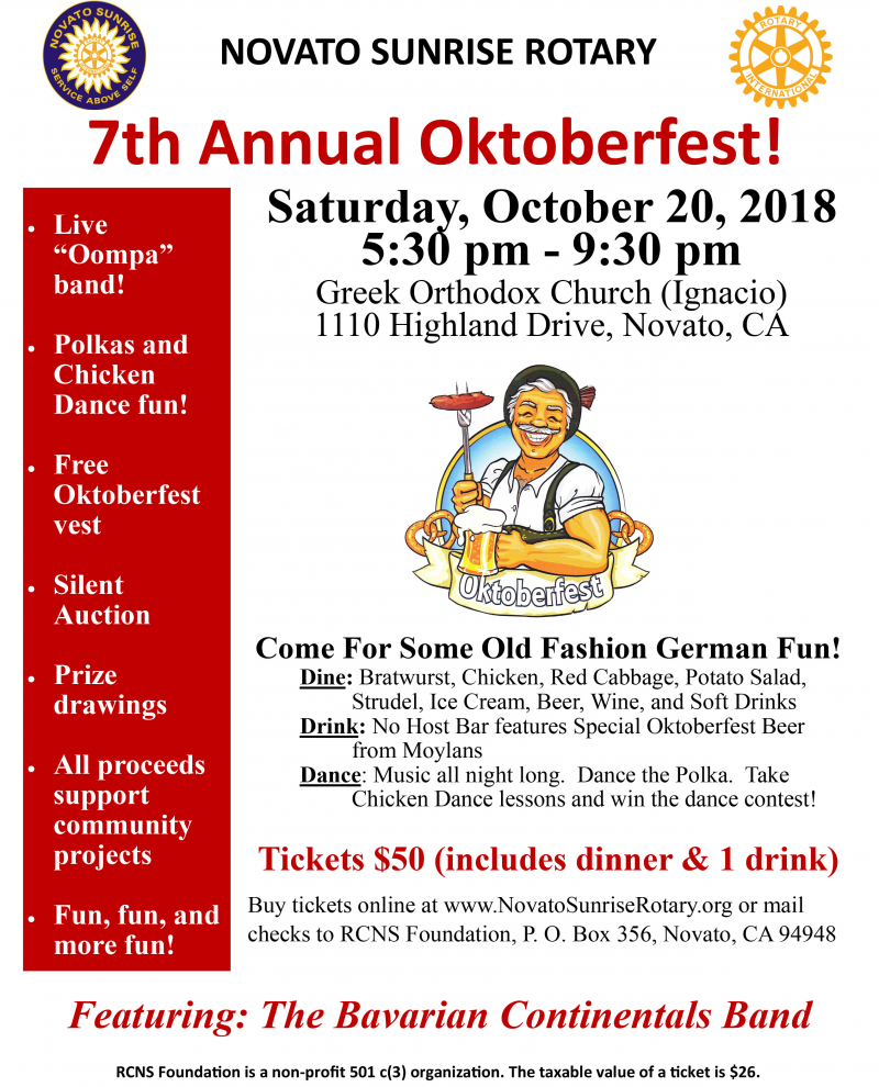 Rotary Club of Novato Sunrise 7th Annual Oktoberfest