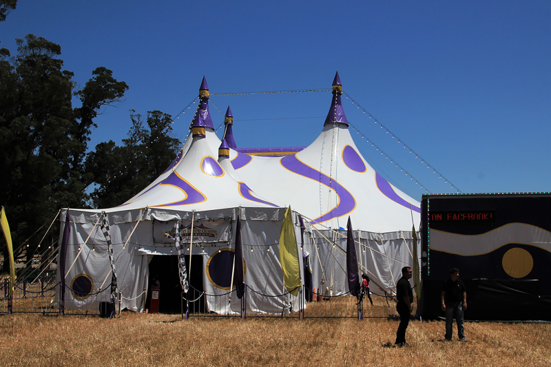Circus tent entrance - Ticket office on right